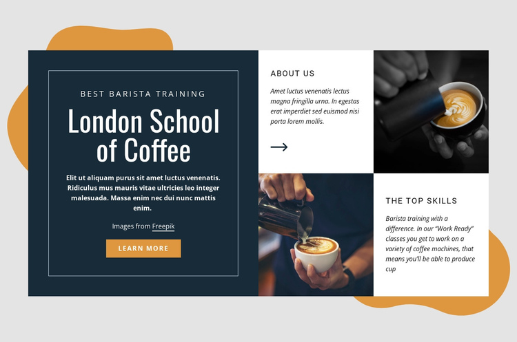 London school of coffee One Page Template