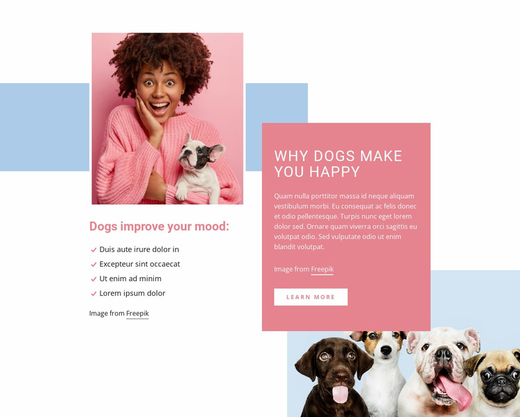 Why dogs make you happy Website Mockup