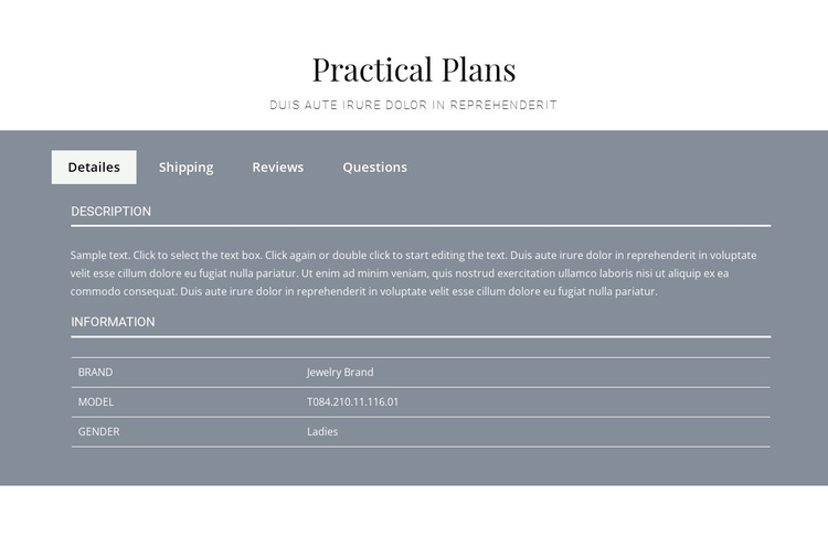 Practical plans Template