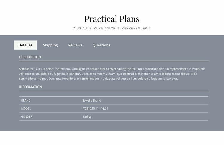 Practical plans Web Page Design