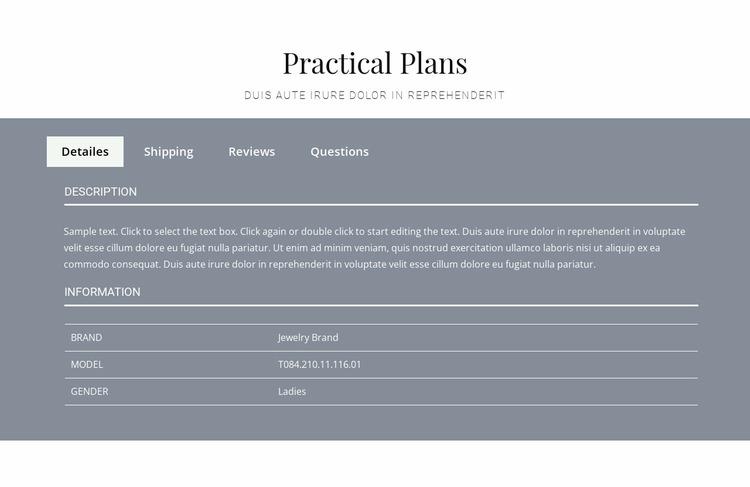 Practical plans Website Mockup