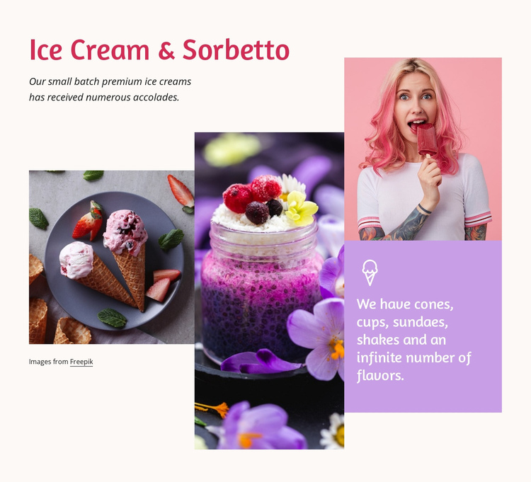 Ice cream and sorbetto Landing Page