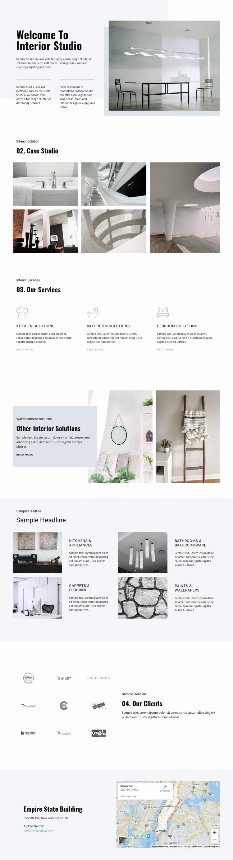 Welcome to interior studio Website Mockup