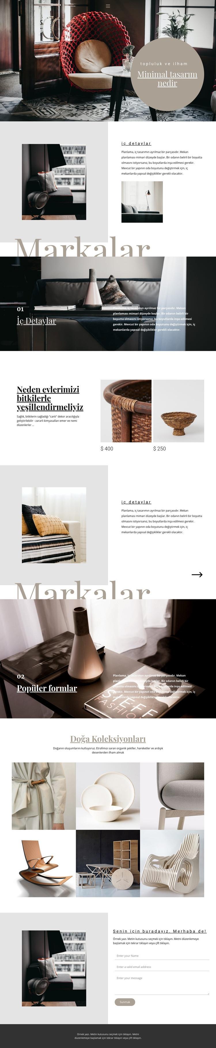 İç mekan markaları Web Sitesi Şablonu