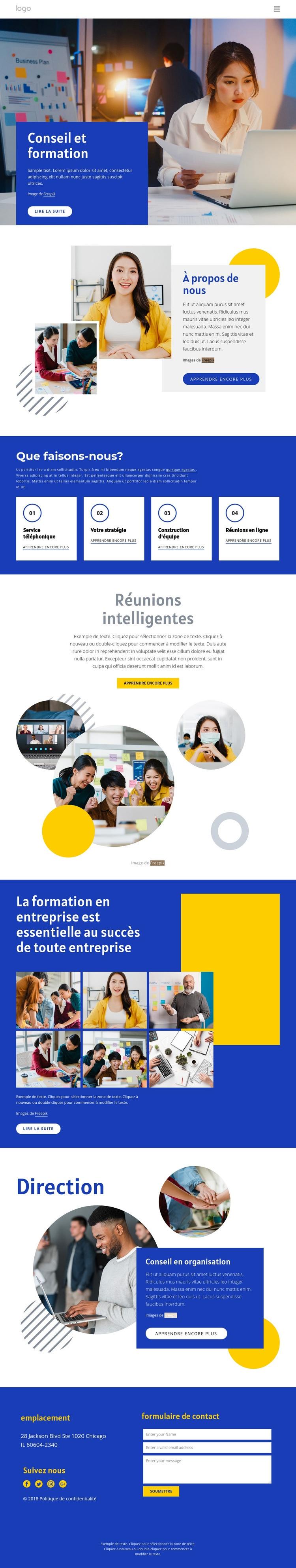 Conseil et formation Modèle de site Web