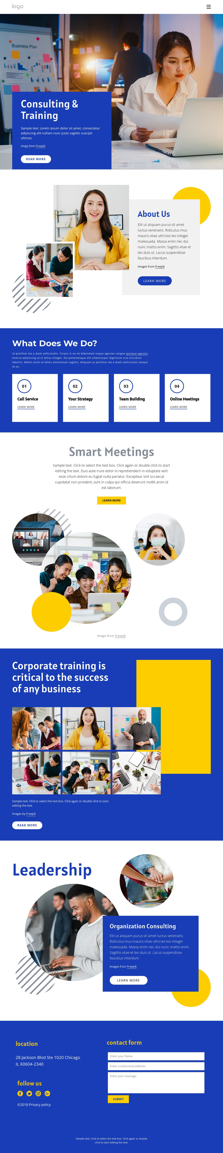 Consulting and training HTML Template
