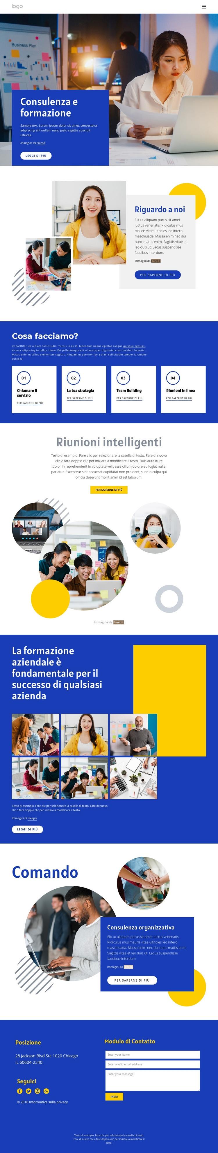 Consulenza e formazione Modello di sito Web