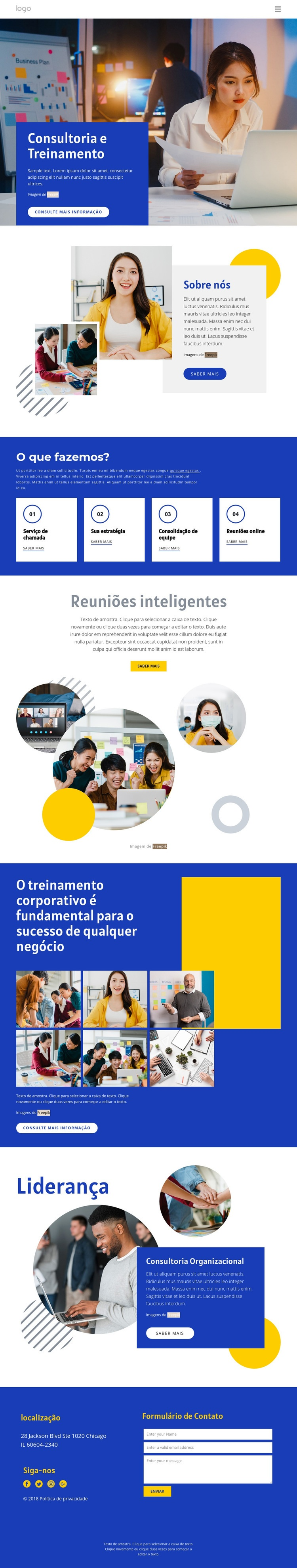 Consultoria e treinamento Modelo de site
