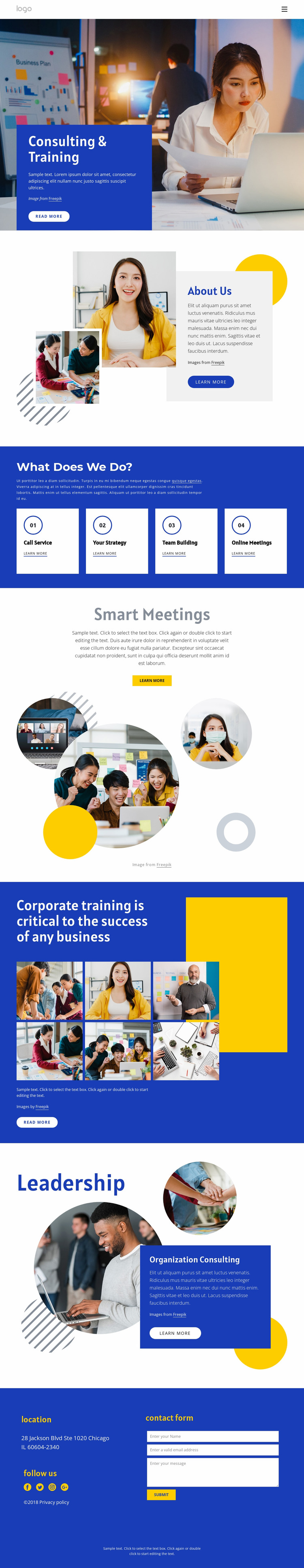 Consulting and training Website Mockup