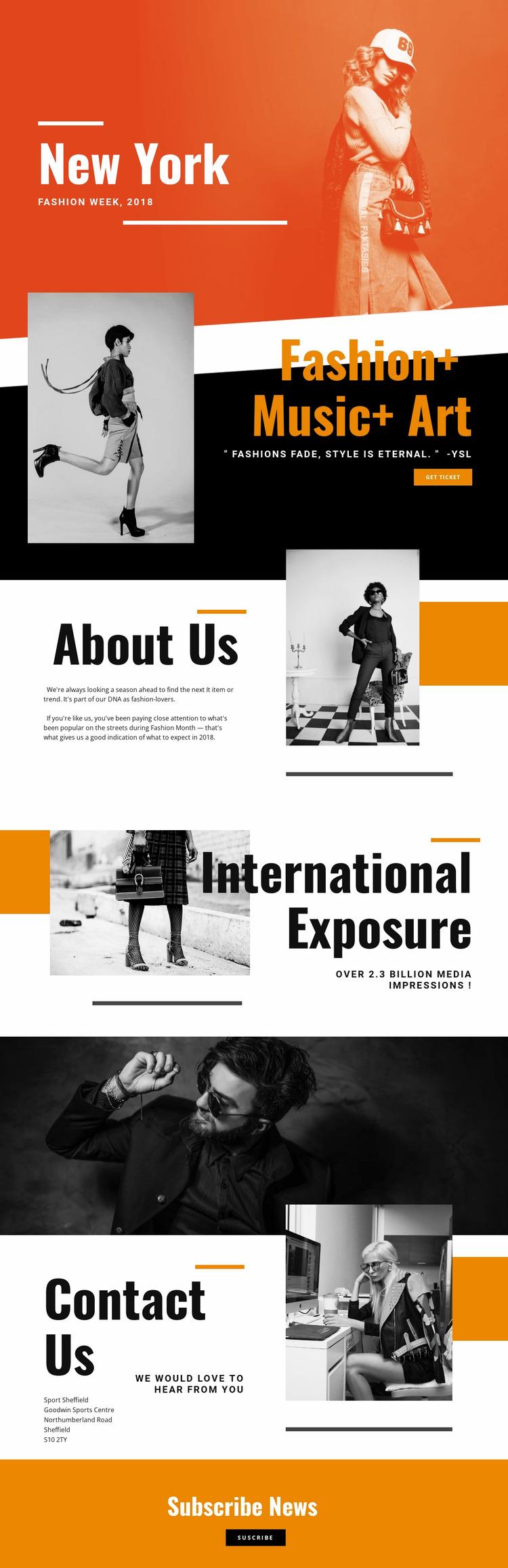 Fashion & Music Website Mockup