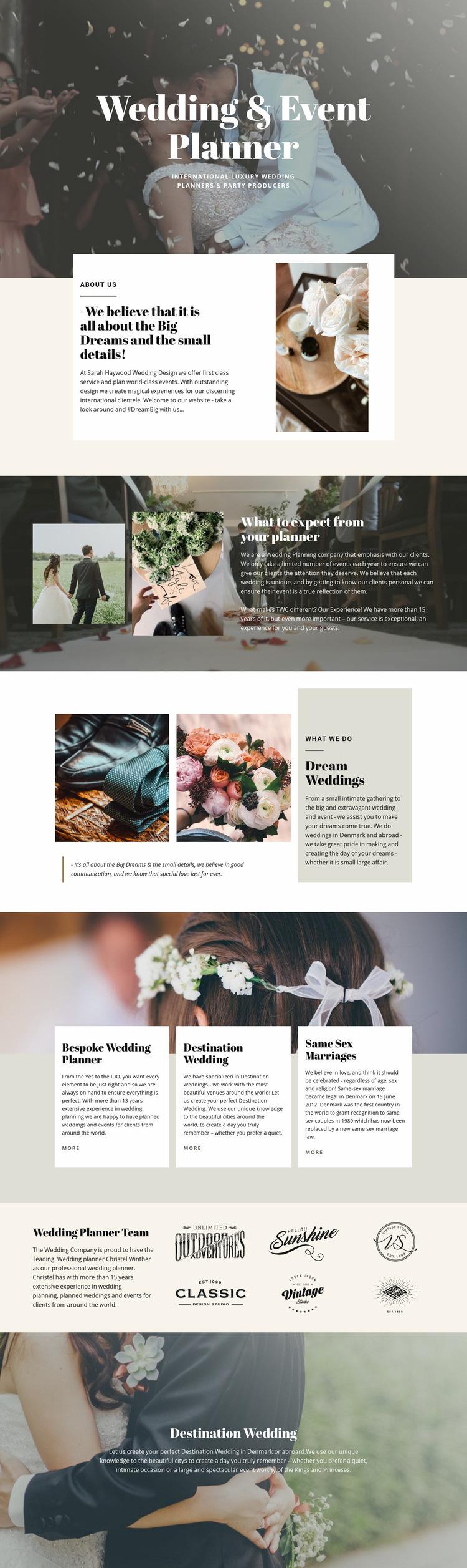 Biggest dream wedding Web Page Design