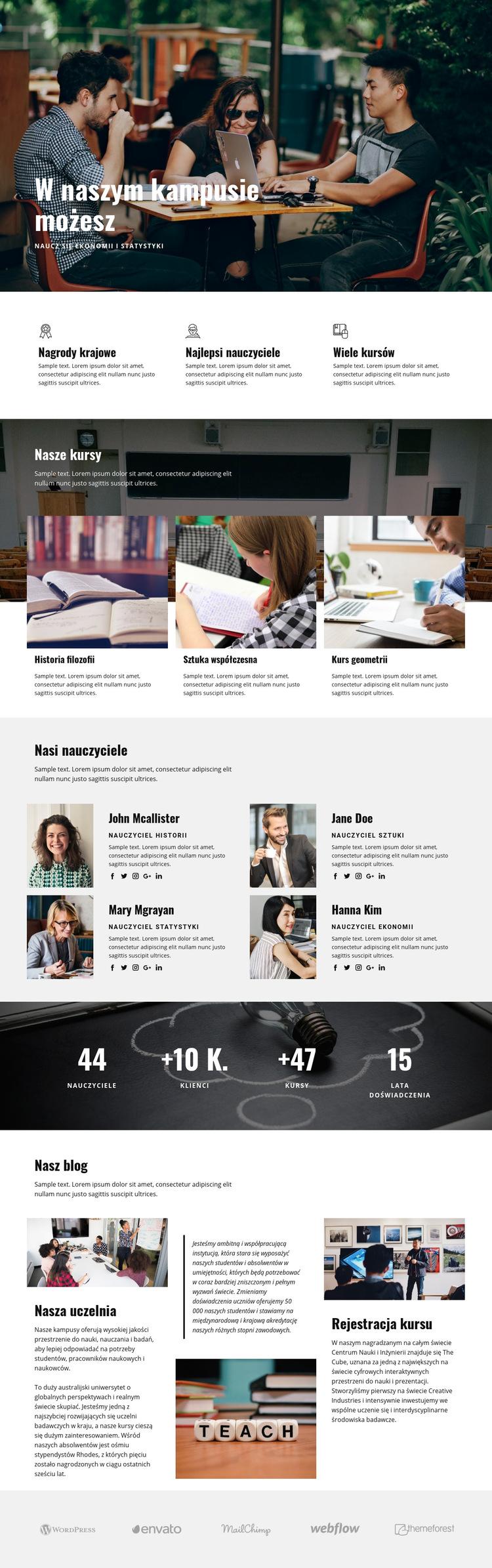 Edukacja w kampusie osobistym Szablon witryny sieci Web