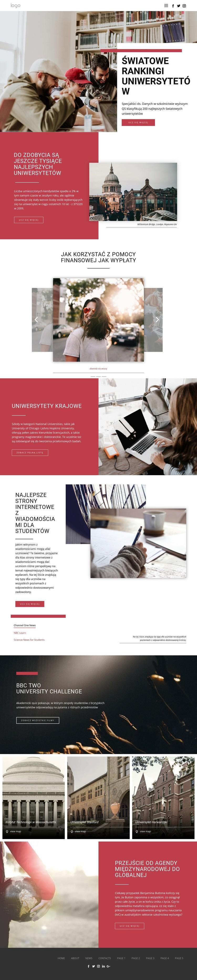 Ranking szkolnictwa wyższego Szablon witryny sieci Web