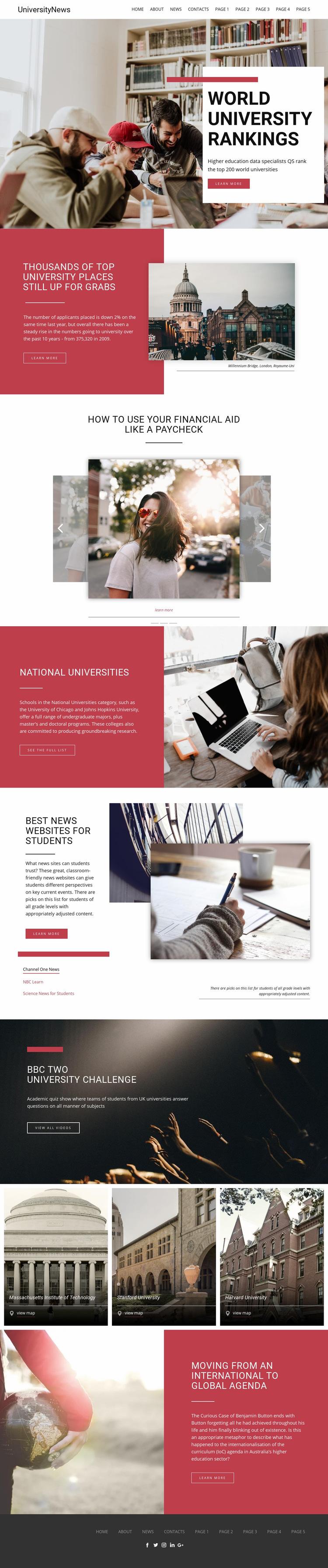 Ranking university education Web Page Design