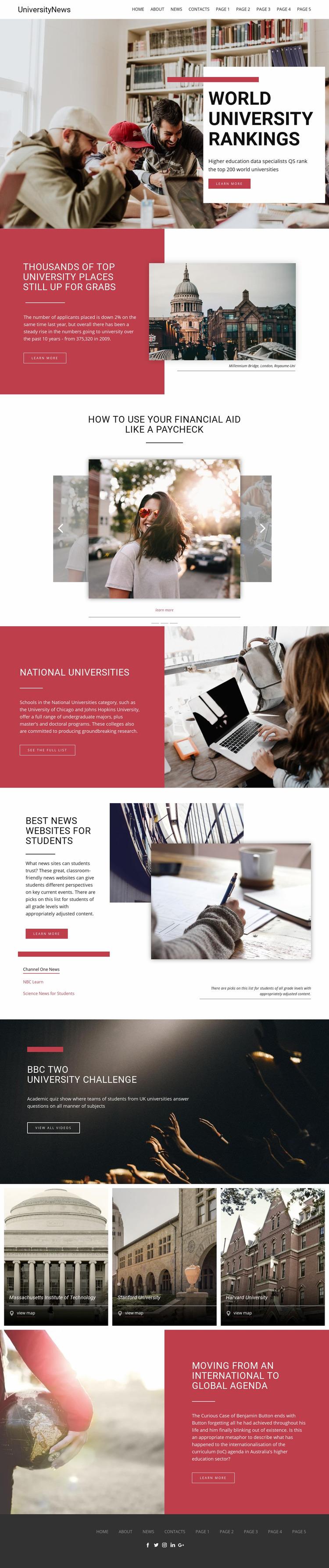 Ranking university education Website Maker