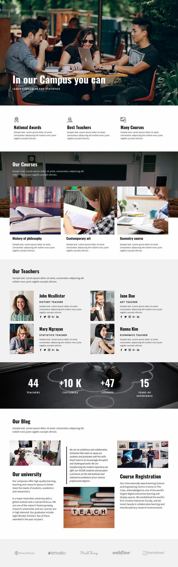 Personal campus education  Website Mockup