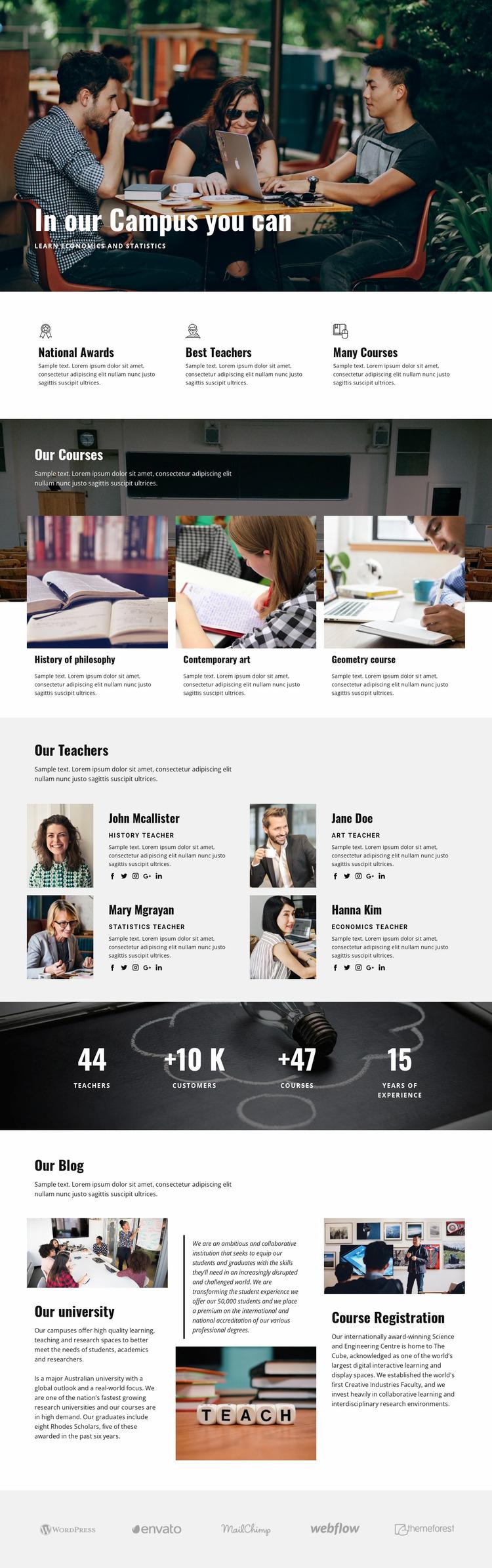 Personal campus education  WordPress Website Builder