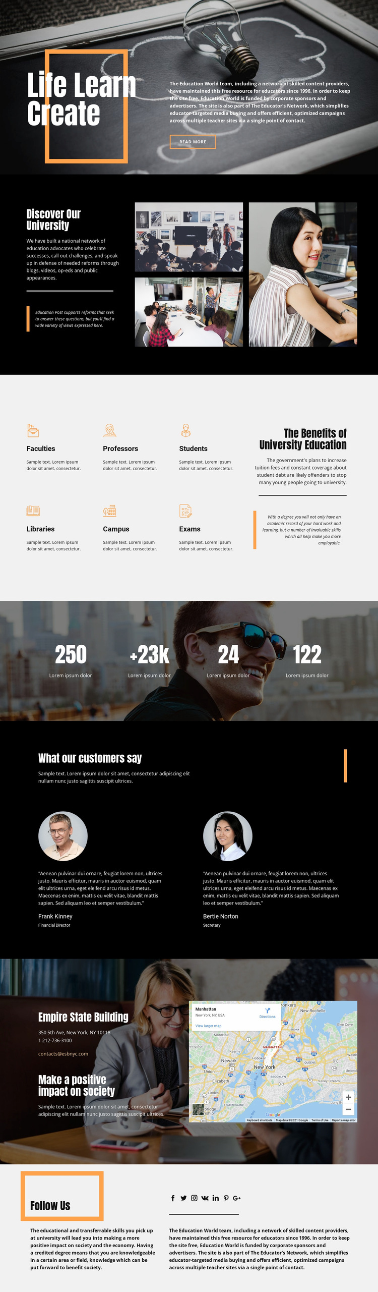 Discover highs of education Website Builder