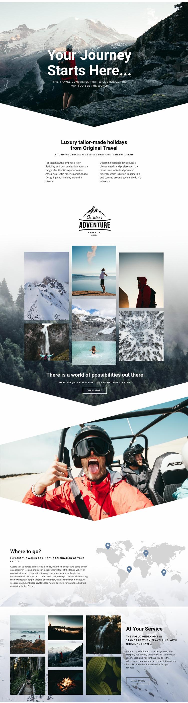 Original holiday travel Website Mockup