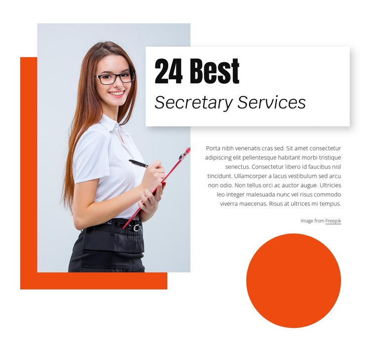 24 Best secretary services One Page Template