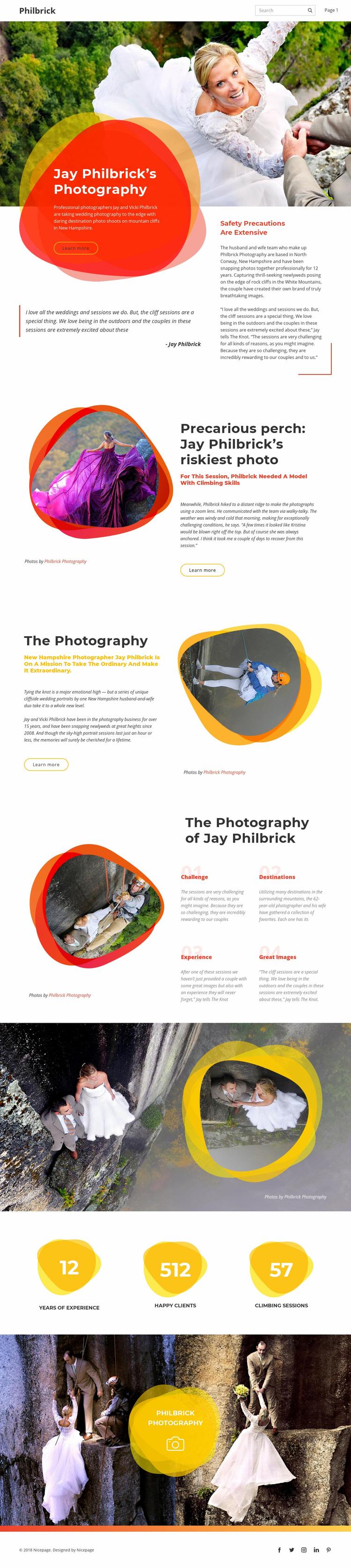 Rock climbing wedding Web Page Designer
