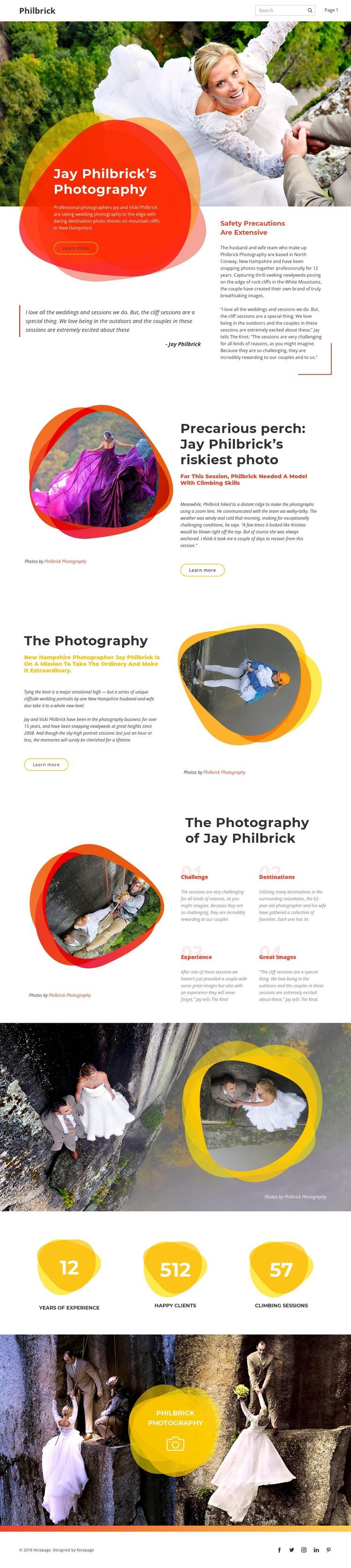 Rock climbing wedding WordPress Template