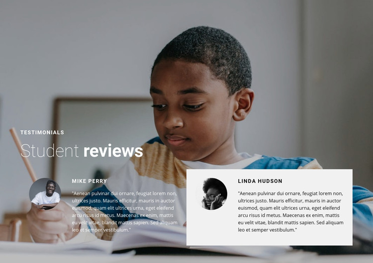 Student reviews Homepage Design