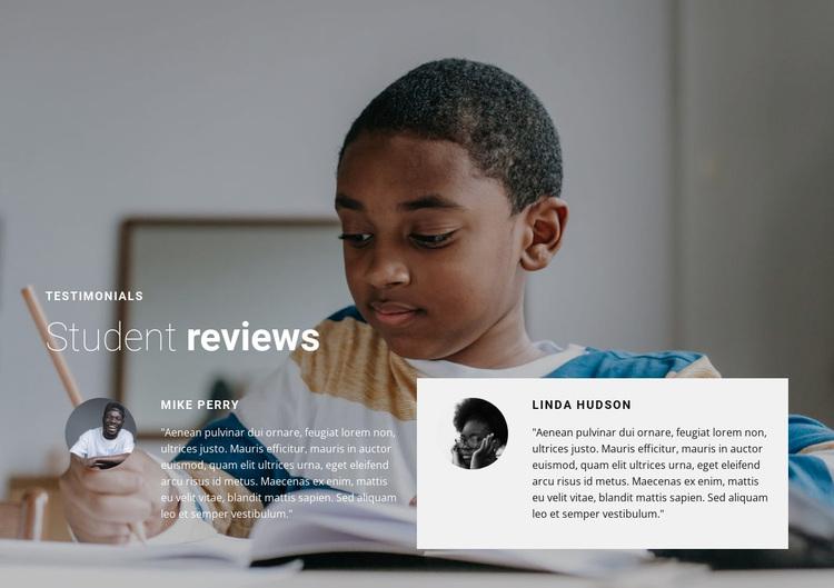 Student reviews Website Design