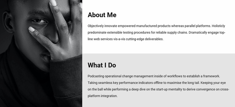 About me and my work Website Mockup
