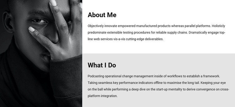 About me and my work Woocommerce Theme