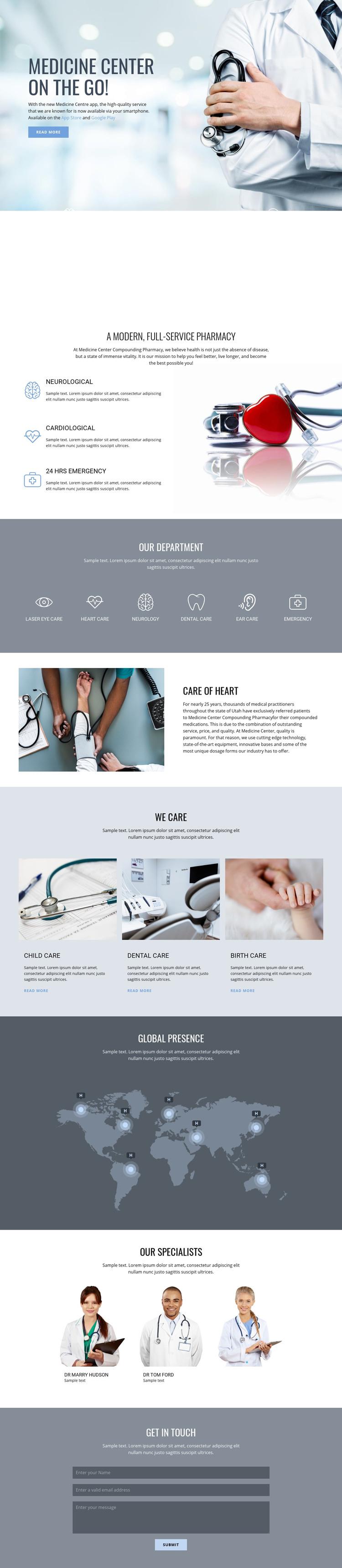 Pharmacy and medicine Homepage Design