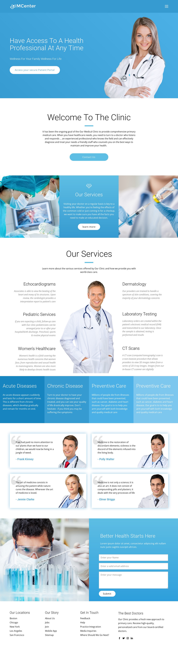 Pro health and medicine One Page Template