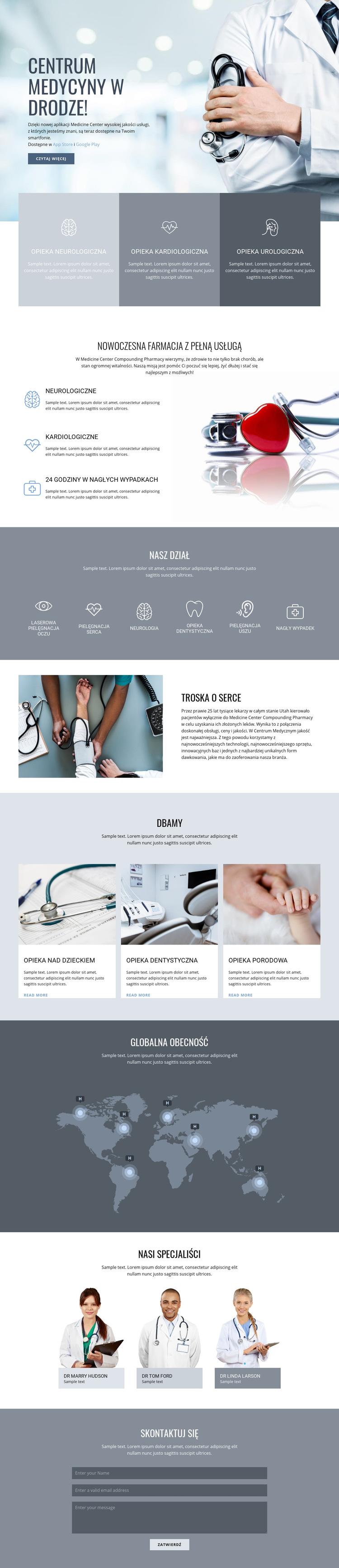 Farmacja i medycyna Szablon witryny sieci Web