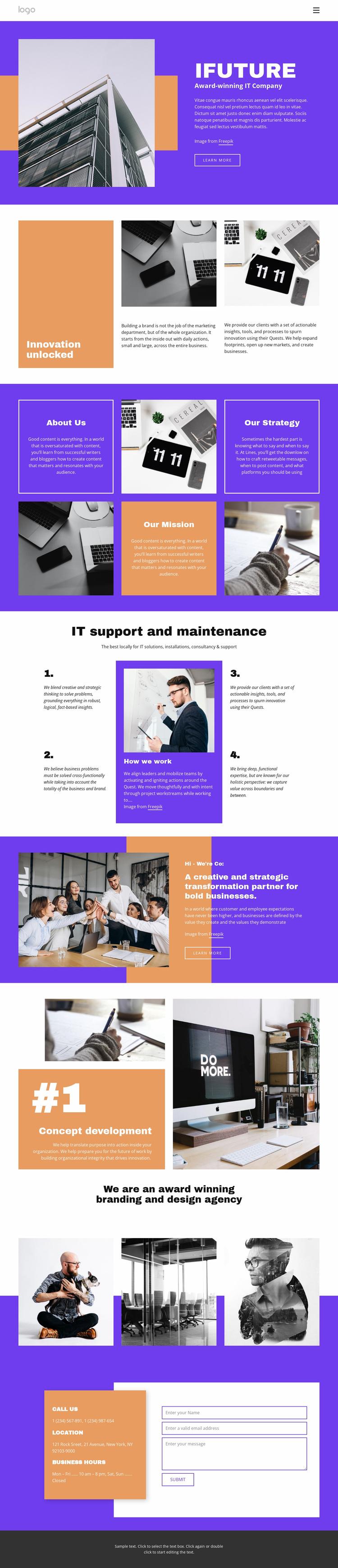 Award-winning IT company Landing Page