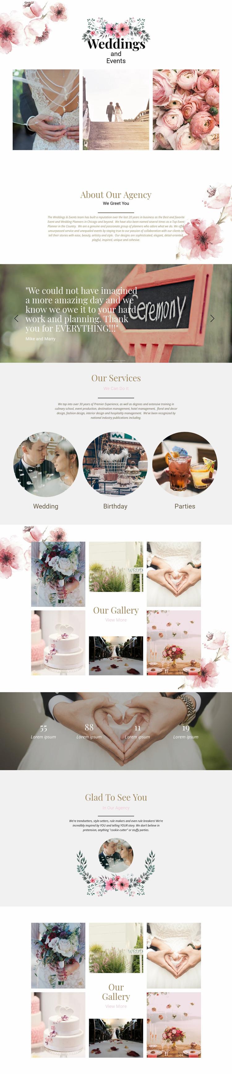 Moments of wedding Website Mockup