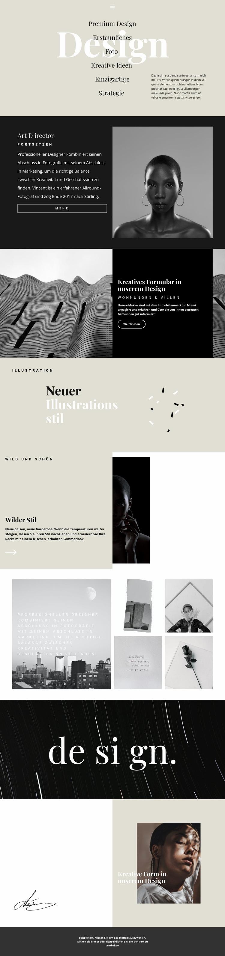 Richtungen des Designstudios Website-Vorlage