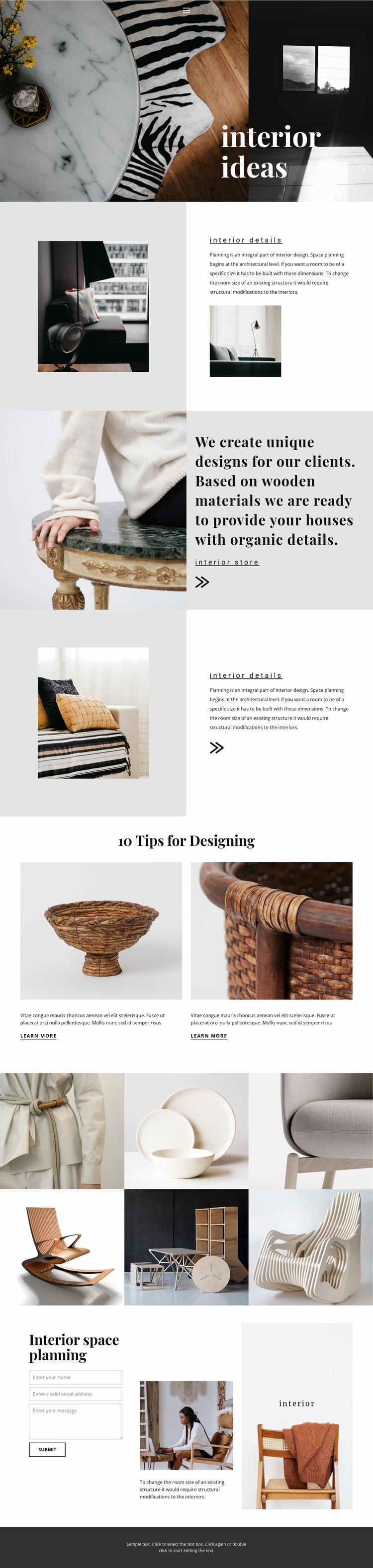 New interior ideas Website Mockup