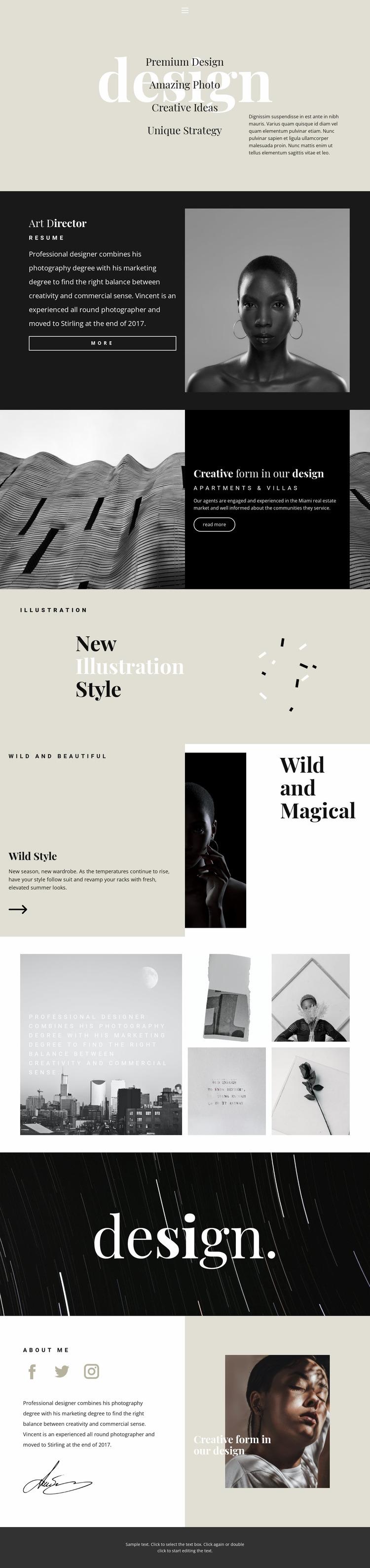 Directions of design studio Website Mockup