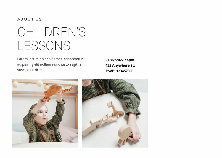 Complex children's lessons Website Mockup