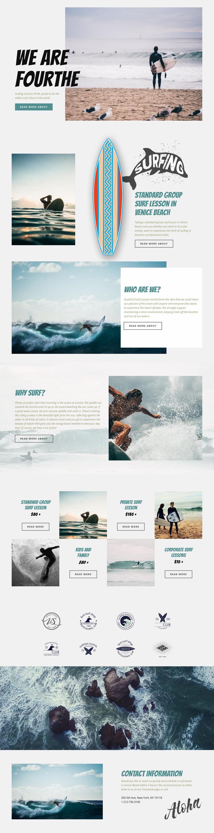 Surfing Web Page Design