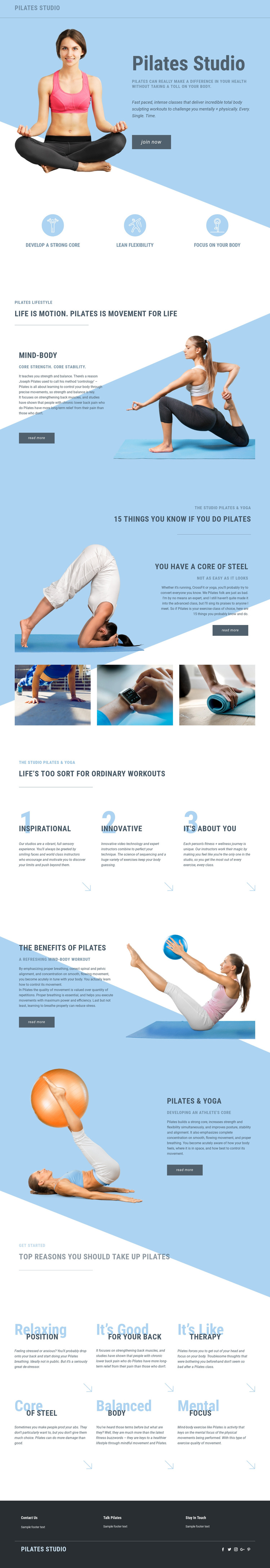 Pilates studio and sports HTML5 Template