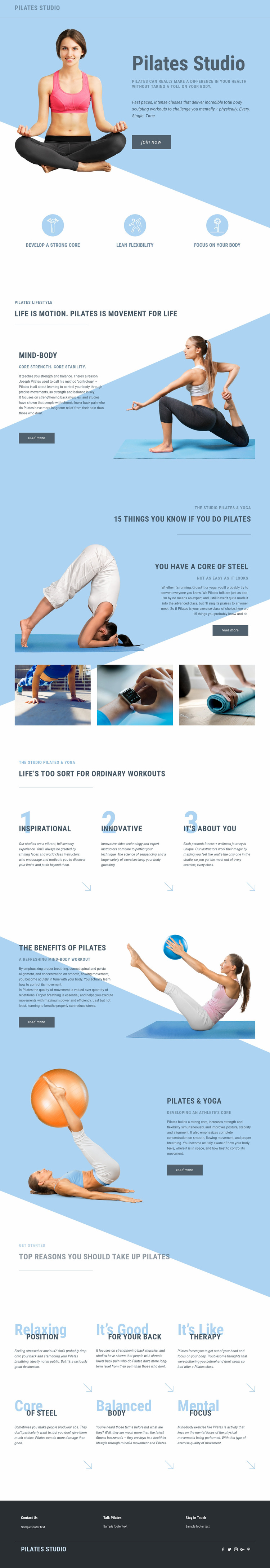Pilates studio and sports Web Page Design