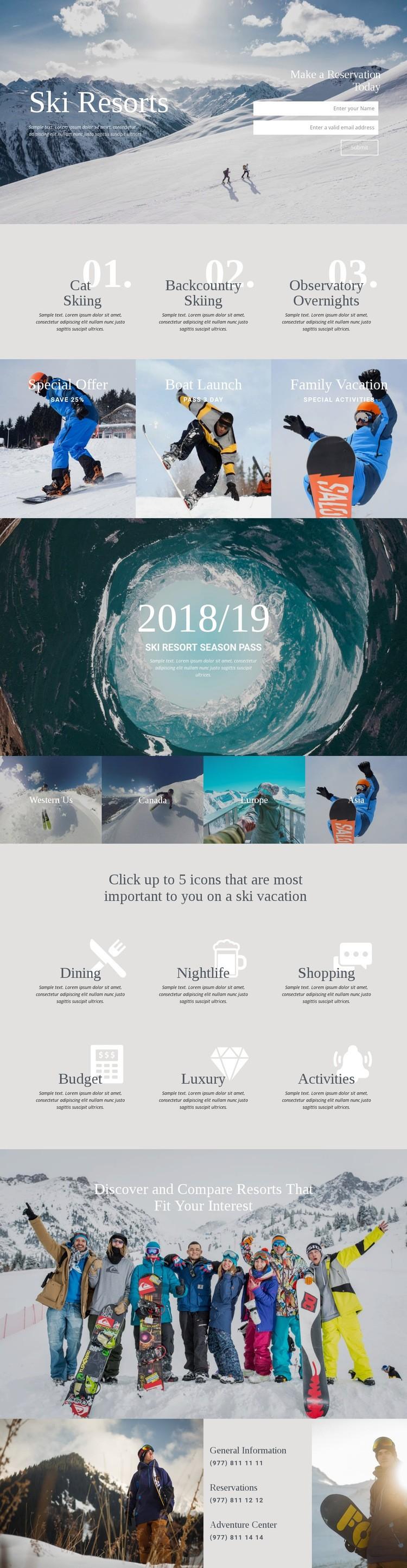 Ski Resorts Html Code Example