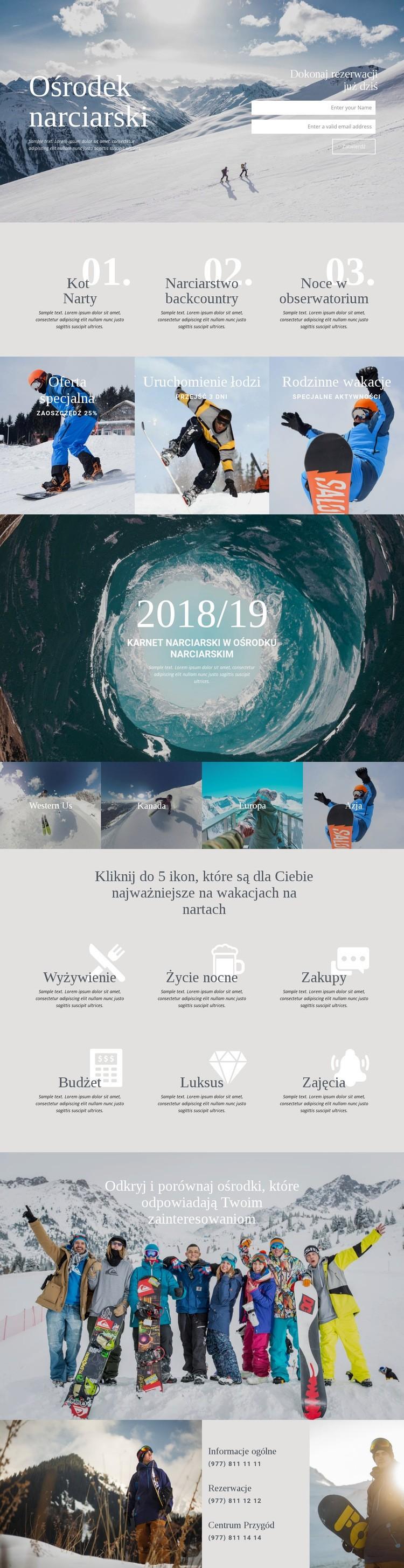 Ośrodek narciarski Szablon witryny sieci Web
