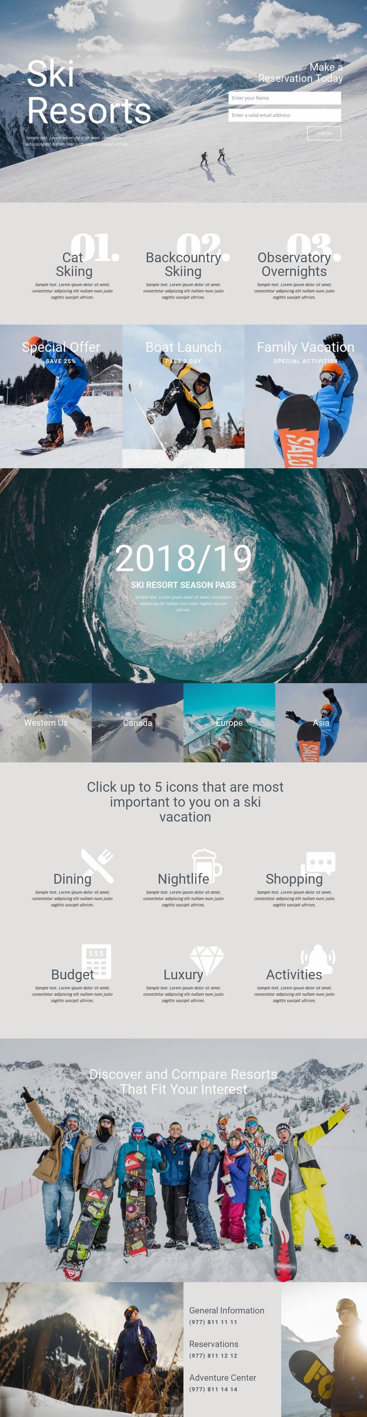 Ski Resorts Web Page Design