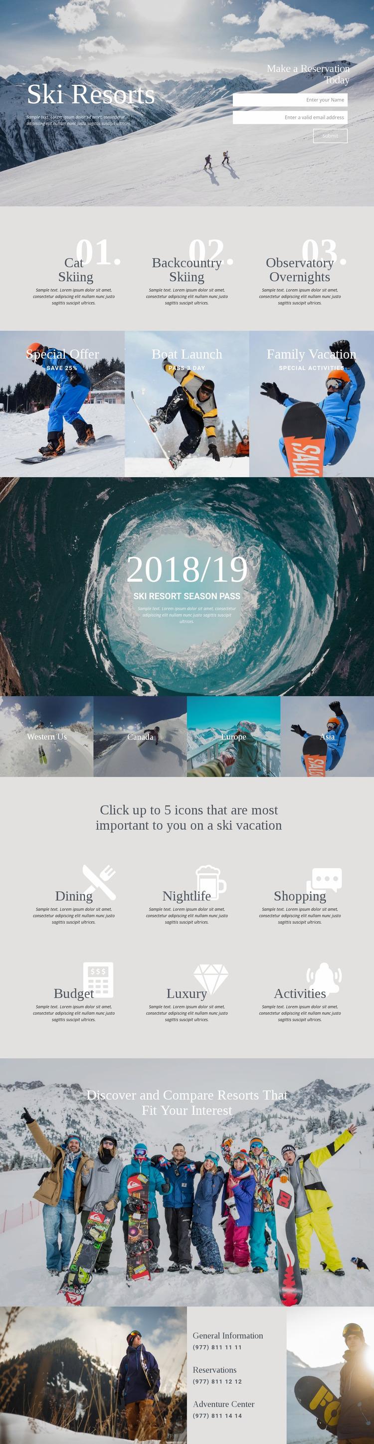 Ski Resorts Website Mockup