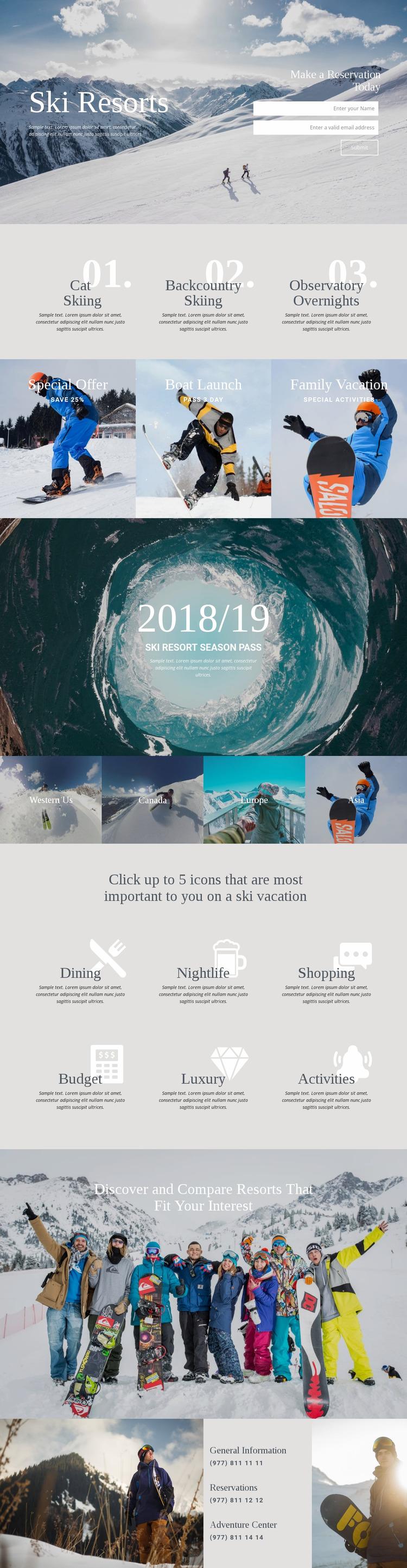 Ski Resorts WordPress Website Builder