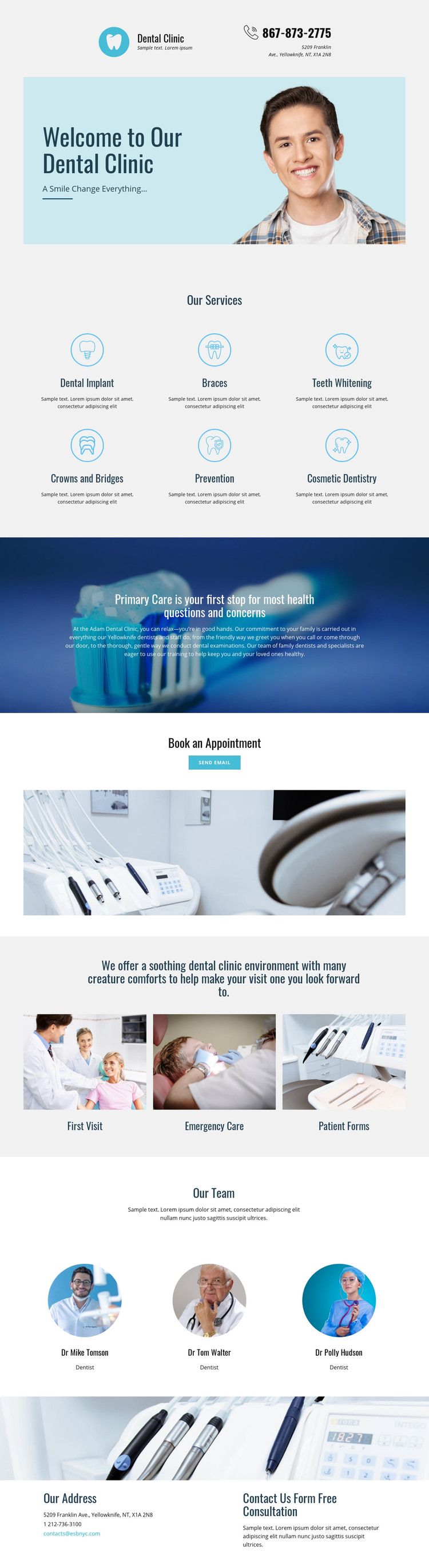 Clinic of dental medicine Homepage Design