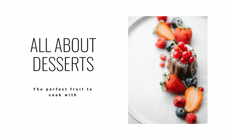 All about desserts Landing Page