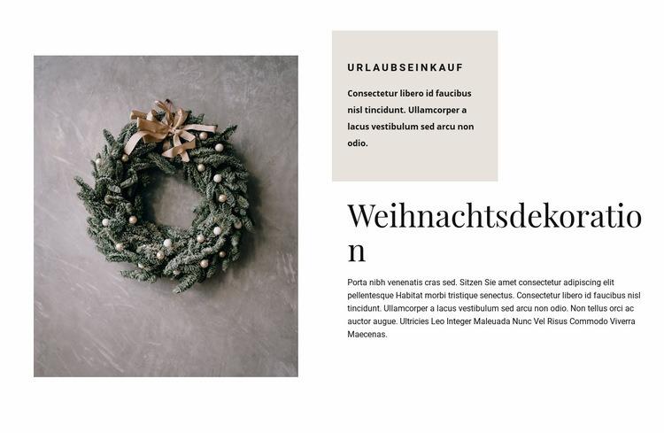 Weihnachtsdekoration Website-Vorlage